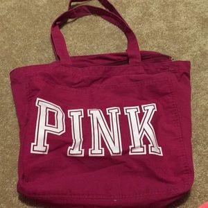 PINK zip top tote bag